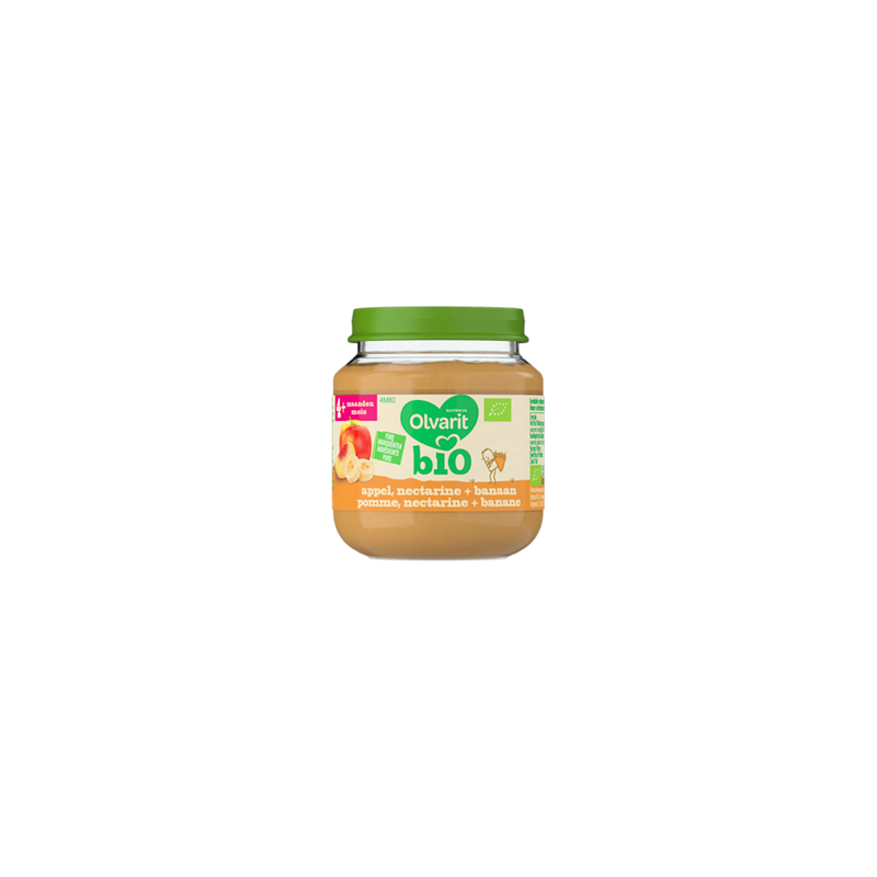 Olvarit Bio appel, nectarine + banaan