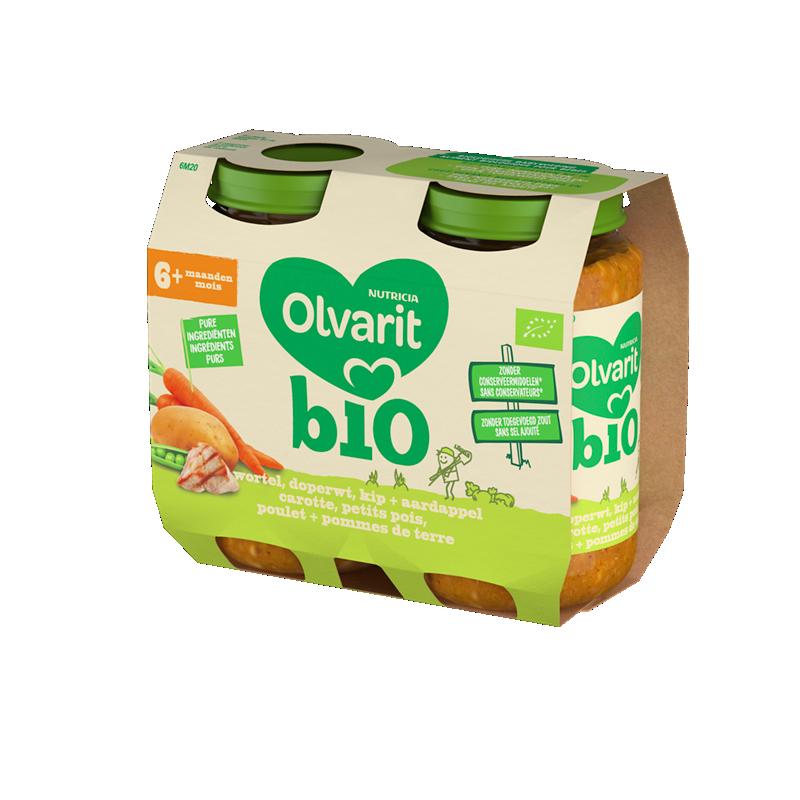 Olvarit Bio carotte, petits pois, poulet + pommes de terre