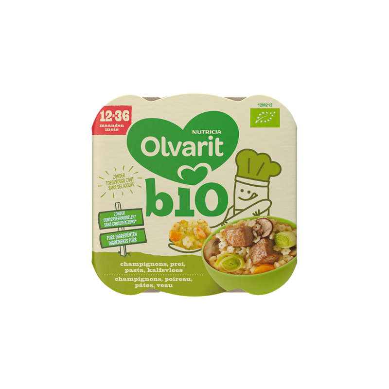 Olvarit Bio Champignons Prei Pasta Kalfsvlees