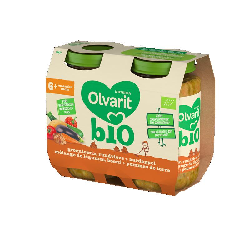Olvarit Bio Mélange de légumes, boeuf et pommes de terre.
