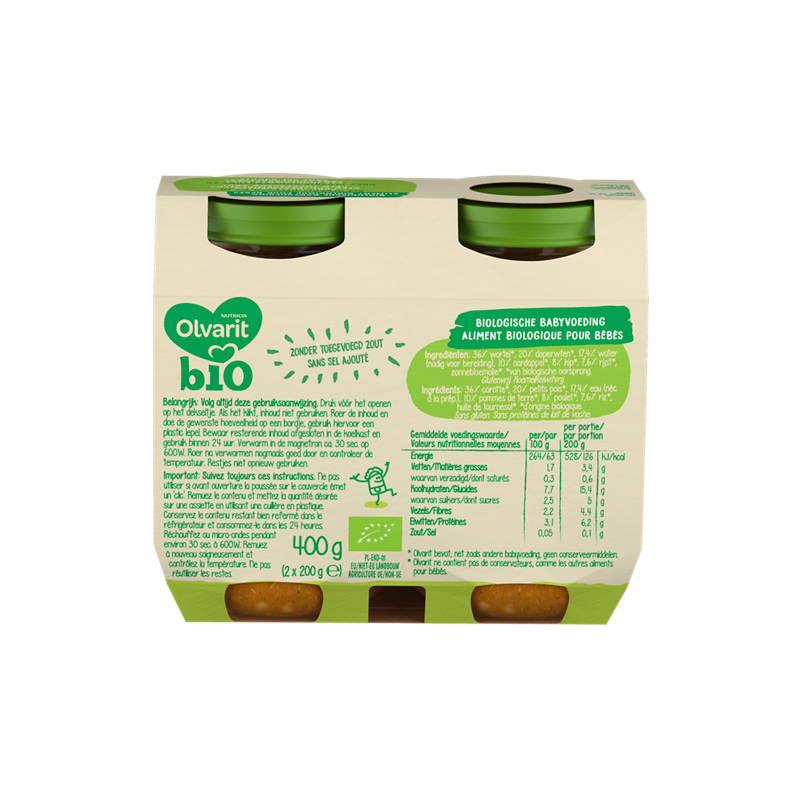 Olvarit Bio Wortel Doperwtjes Kip Aardappel