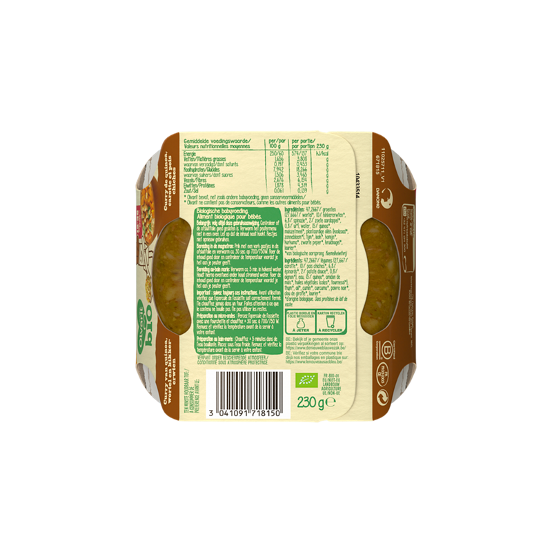 Olvarit Curry de quinoa, carotte et pois chiches