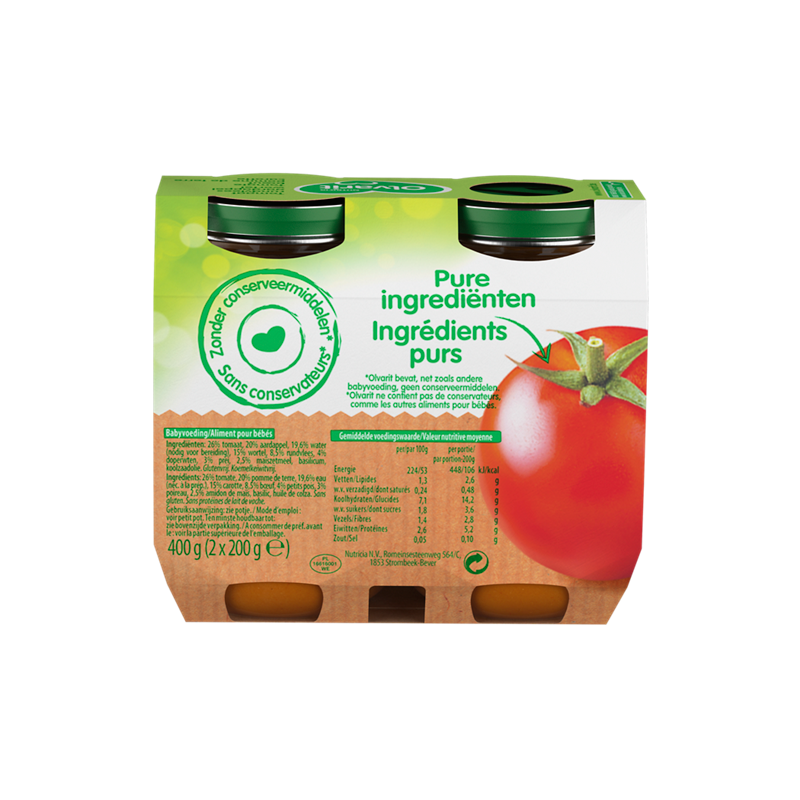Olvarit Tomate bœuf pommes de terre carotte