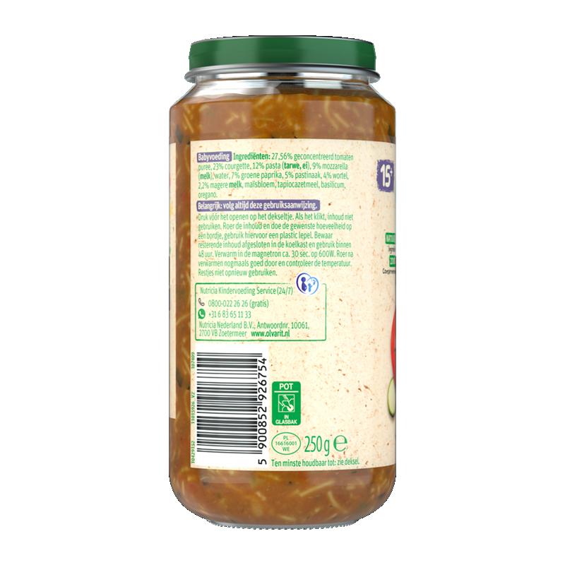 Olvarit Vegetarische pasta Courgette Mozzarella
